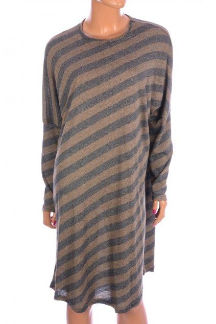 Šaty pruhované hnědo šedé Respiro vel. L - XL