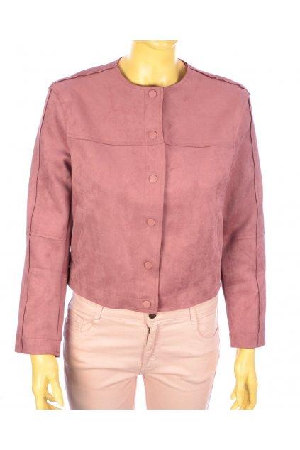 Kabátek bunda růžová z umělého semiše Stradivarius vel. S - M nová s visačkou