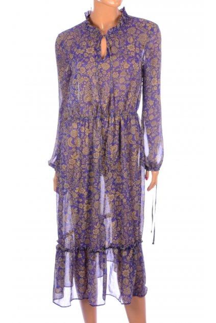 Šaty fialové květované NOVÉ S VISAČKOU George vel. M / uk 12