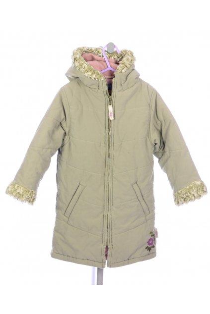 Bunda kabát TU vel 104/3-4 zelená khaki s výšivkou VADA