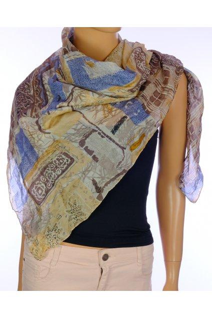 Šátek hnědý vzor vizuálně hedvábí