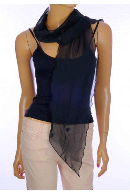 Šátek černý průsvitný