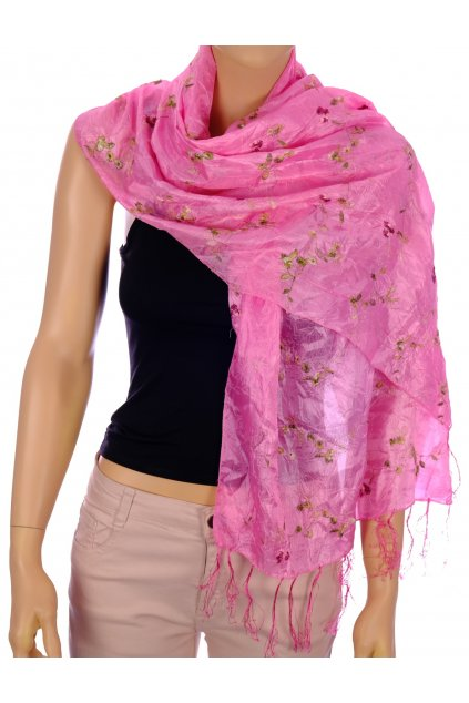 Šátek růžový vyšívaný květovaný se střapci