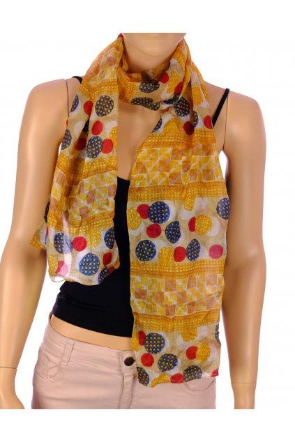 Šátek do žluta s puntíky 100% hedvábí