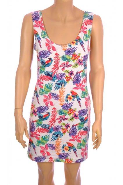 Šaty C&A bílé tropický vzor vel. XL