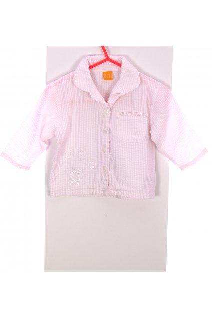 Pyžamo vršek Mini Mode světle růžová pruhovaná s vločkama s rýmečkem vel. 9 - 12 m / 80