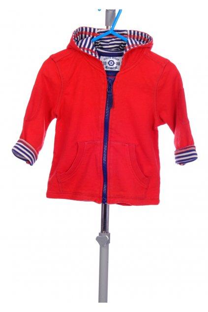 Mikina chlapecká Mini Club červená pruhovaná podšívka v kapuci a rukávech vel. 9 - 12 m / 80