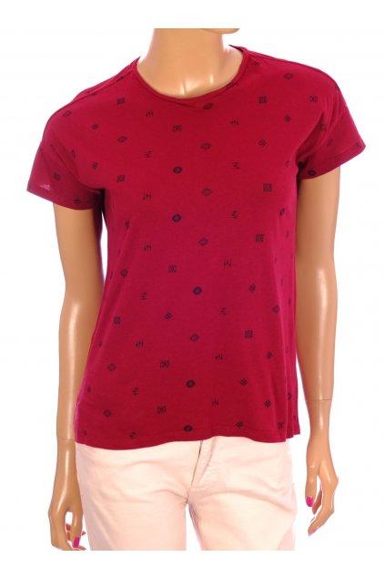 Tričko Mango červené do vínova s obrázky vel. S