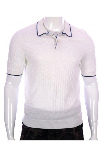 Tričko pánské Dalmine bíle čtverečkovaný vzor s límcem  vel. 52 / M