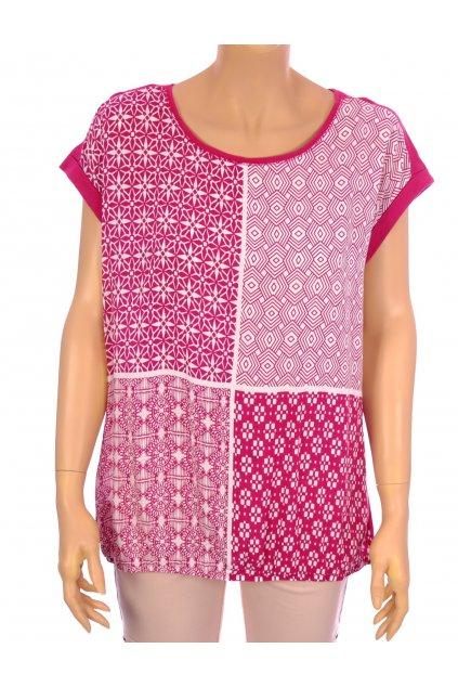 Tričko Laura Torelli růžové vzorované vel. L dole do gumky