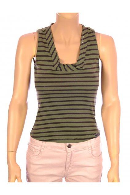 Tričko tílko G-Star khaki zelené pruhované vel. S