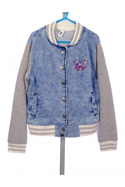 Bunda dívčí Yigga modrá s motýlkem s mikinovými šedými rukávy vel. 134 - 140 / 8 - 10 r