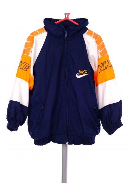 Bunda chlapecká tmavě modrá s logem s oranžovo bílými rukávy vel. 110 / 4 - 5 r