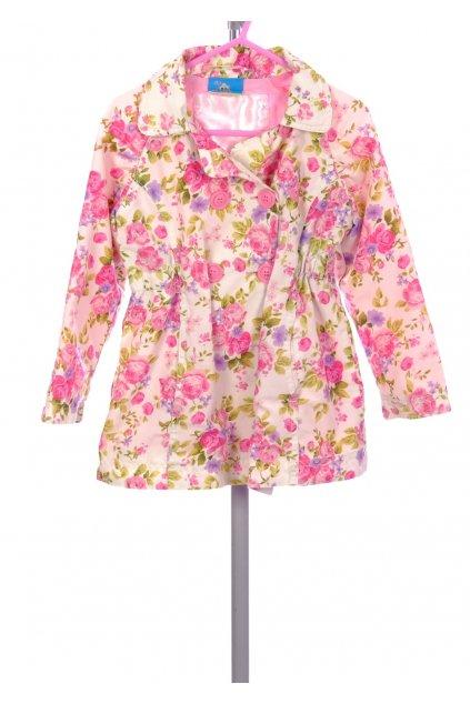 Bunda dívčí Topolino bílý květovaný kabátek vel. 98 / 2 - 3 r chybí knoflík