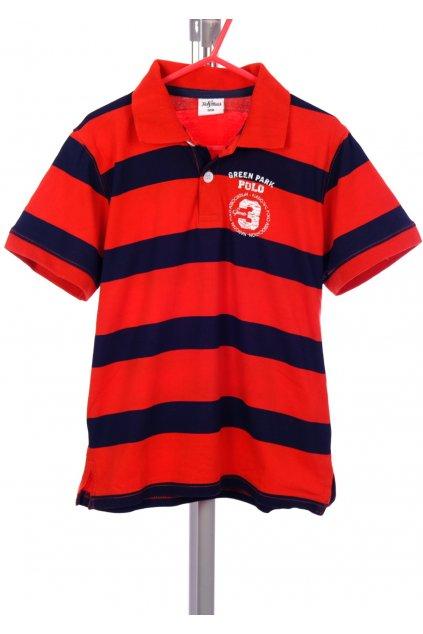 Tričko Fit&Match červené pruhované s obrázkem vel. 128 / 7 - 8 r