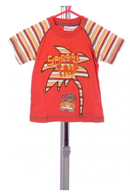 Tričko Inscene červené s obrázkém pruhované rukávy vel. 68 / 4 - 6 m