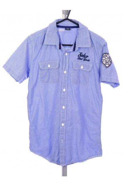Košile Soho modré proužkované košile s límečkem s nápisem na zádech vel. 158 - 164 / 12 - 14 r