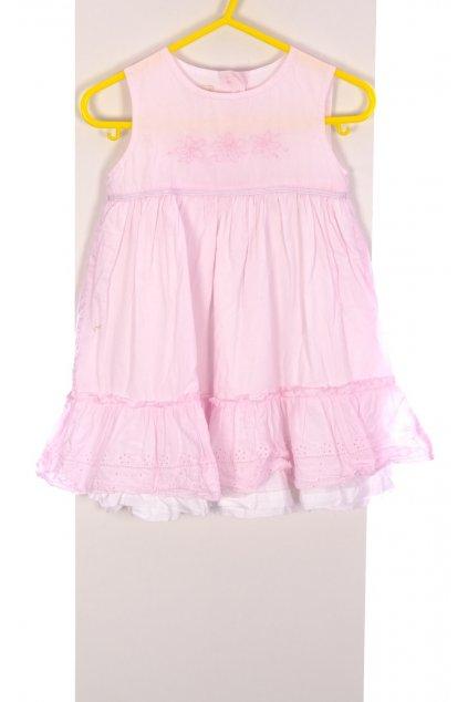 Šaty Bambini světle růžové s kytičkama vel. 9 - 12 m / 80