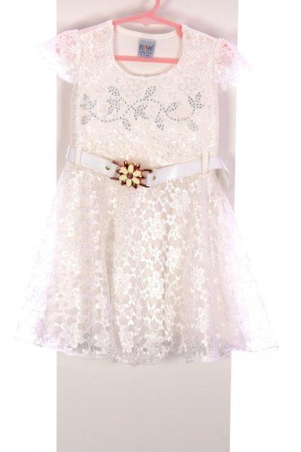 Šaty Soykan bílé s opaskem s kytičkou krajkované vel. 4 - 5 let / 110