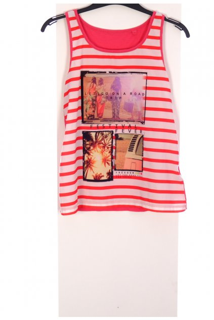 Tričko C&A růžové pruhované s obrázkem vel. 134 - 140 / 8 - 10 let