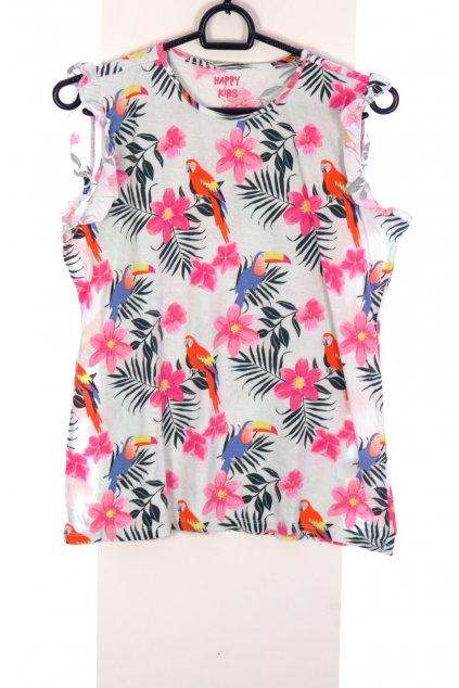 Tričko Tchibo bílé květované s papoušky vel. 158 - 164 / 12 - 14 r