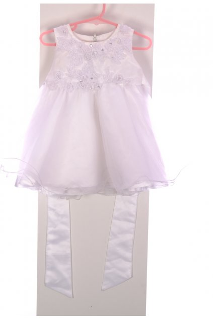 Šaty slavnostní bílé s perličkami vel 98/2-3 roky