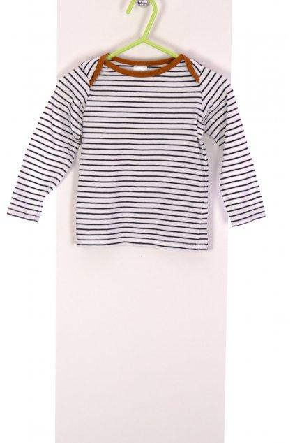Tričko chlapecké H&M bílé pruhované vel 80/9-12 měsíců