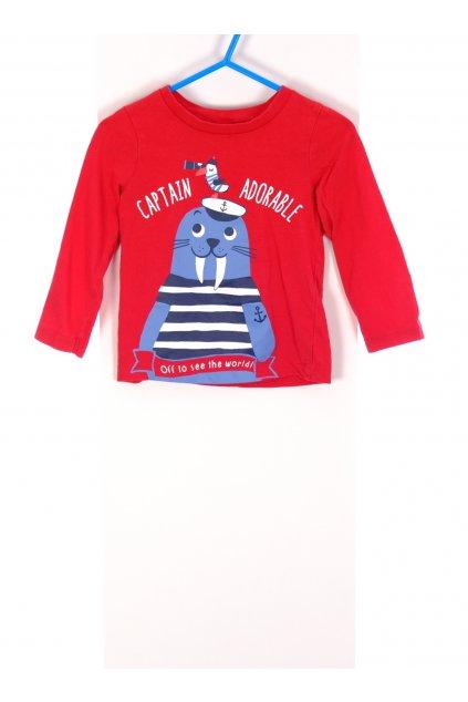 Tričko C&A červené s mrožem vel 86/12-18 měsiců