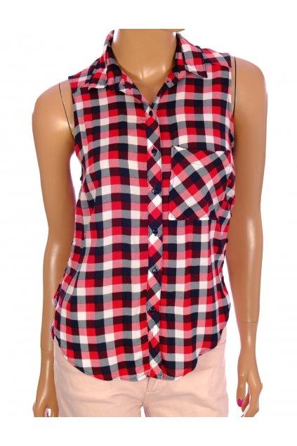Halenka košile Bershka černo červeno bílo kostičkovaná vel XS