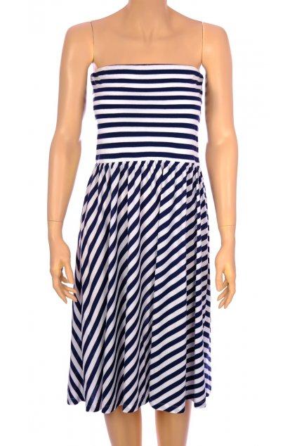 Šaty Esmara modré pruhované holá ramena vel S