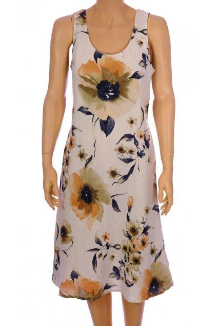 Šaty béžové velké květy lněné vel M vada