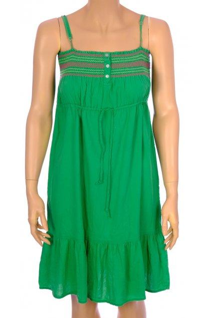 Šaty zelené s vyšívkou  na ramínka vel XS