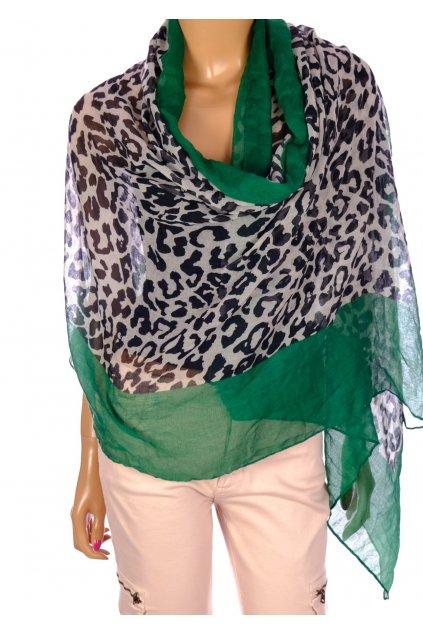 Šátek Aniston leopardí vzor se zeleným lémem
