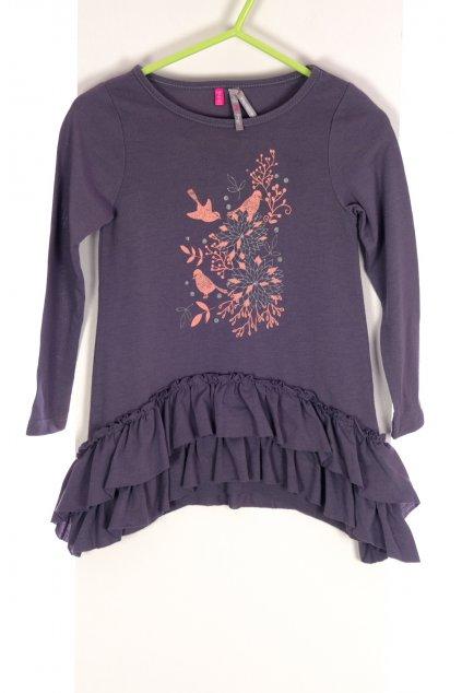 Šaty dětské Lovely Gril šedé s růžovým obrázkem ptáčci vel 92/ 18-24 měs