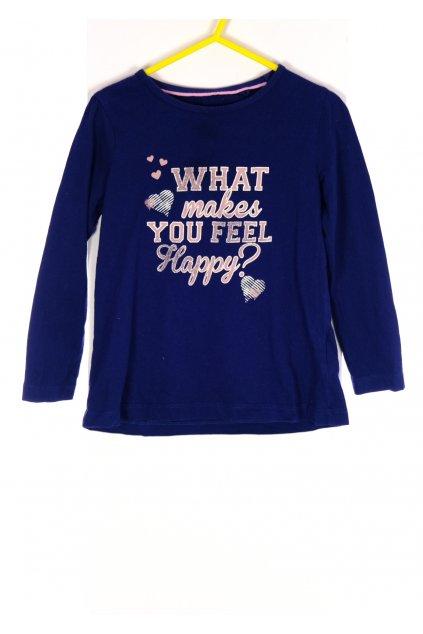Tričko Lupilu tmavě modré s růžovými nápisy vel 104/ 3-4 roky