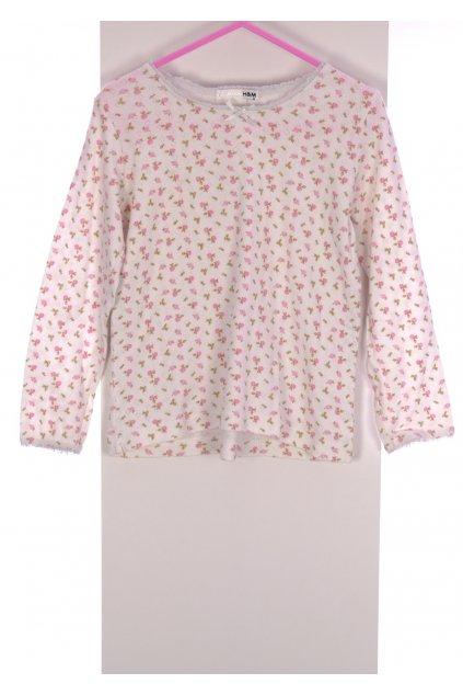 Tričko HM bílé s růžíčkami vel 110/4-5 let