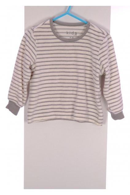 Tričko Kids  sametové bílo šedé pruhované vel 86-92/12-18 měsíců
