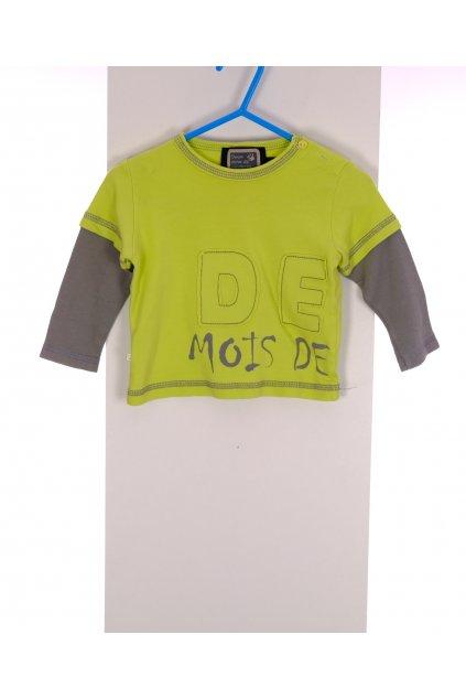 Tričko Deux zelené s nápisy vel 68/4-6 měs
