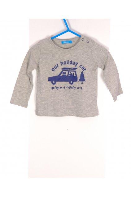 Tričko Hema šedé s modrým obrázkem vel 62/ 2 - 3 měs