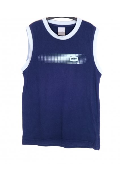 Tričko modré bez rukávy s nápisem vel 140-152/9-10 let
