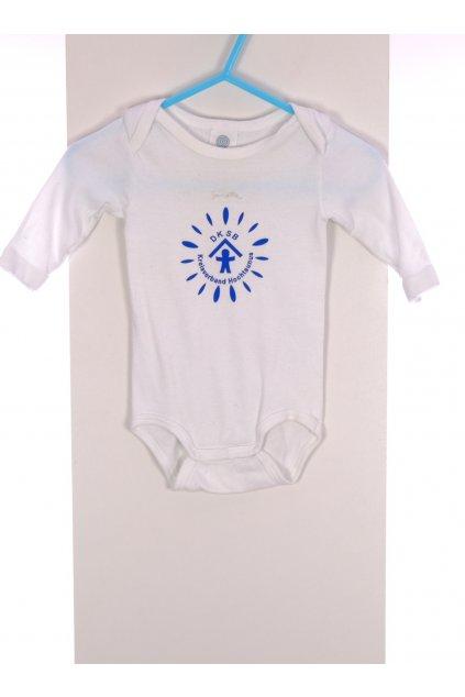 Body Baby  Saneta bílé s modrým potiskem vel 68/4 - 6 měs