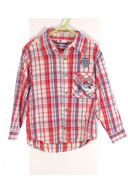 Košile chlapecká Kik červené káro vel 110/5-6 let vada