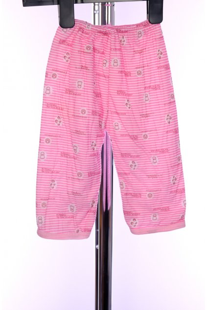 Tepláky dětské růžové tenký proužek vel 68/4-6 měs