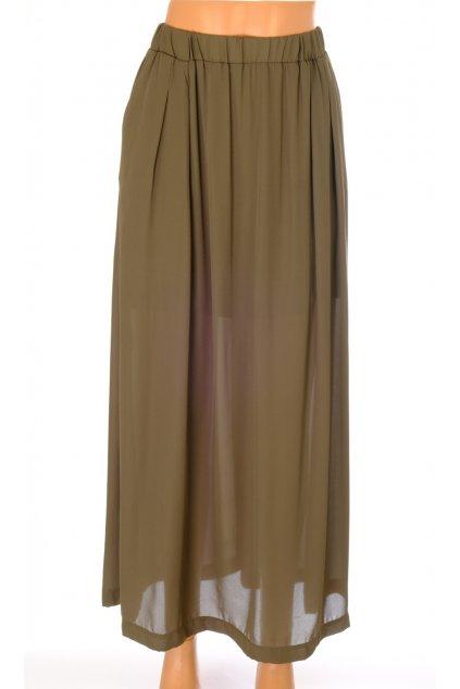 Sukně Jean Pascale khaki zelená dlouhá vel M
