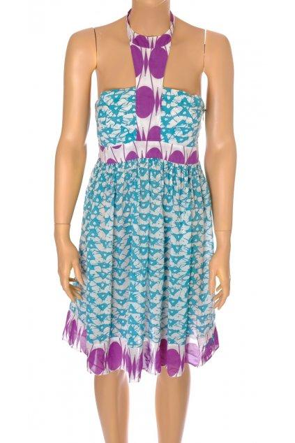 Šaty Pepe Jeans tyrkysovo fialové letní vel M   @1