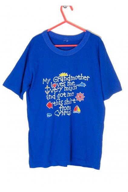 Tričko modré s nápisy vel 164/13 - 15 let