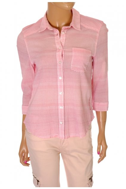Košile s. Oliver červeno růžový tenký proužek vel S