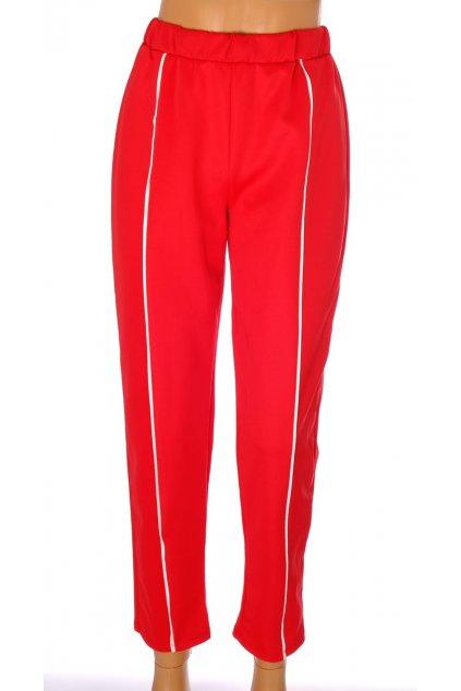 Kalhoty Pull&Bear červené s bílým proužkem vel L