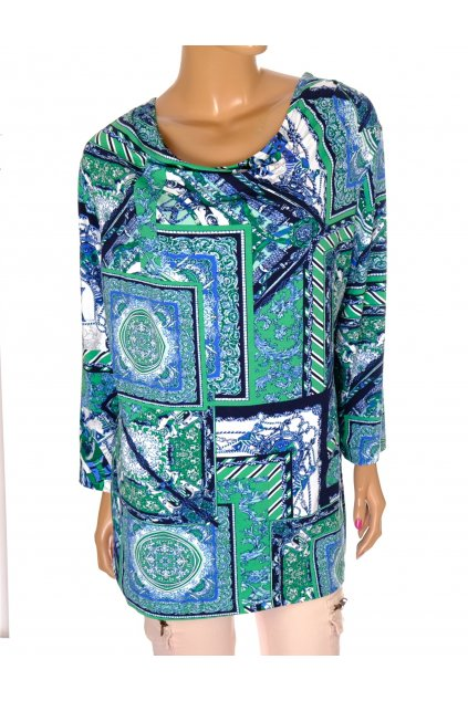 Tričko Rabe zeleno modrý vzor vel L