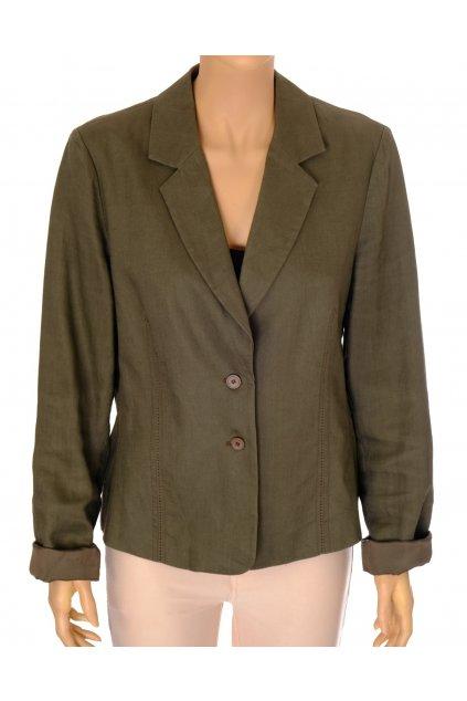 Sako Mexx khaki zelené 100 % lněné vel L